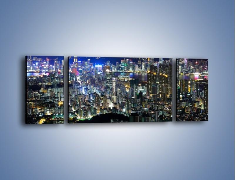 Obraz na płótnie – Nocne światła w dużym mieście – trzyczęściowy AM144W5