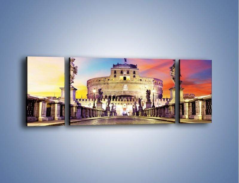 Obraz na płótnie – Zamek św. Anioła na tle kolorowego nieba – trzyczęściowy AM156W5