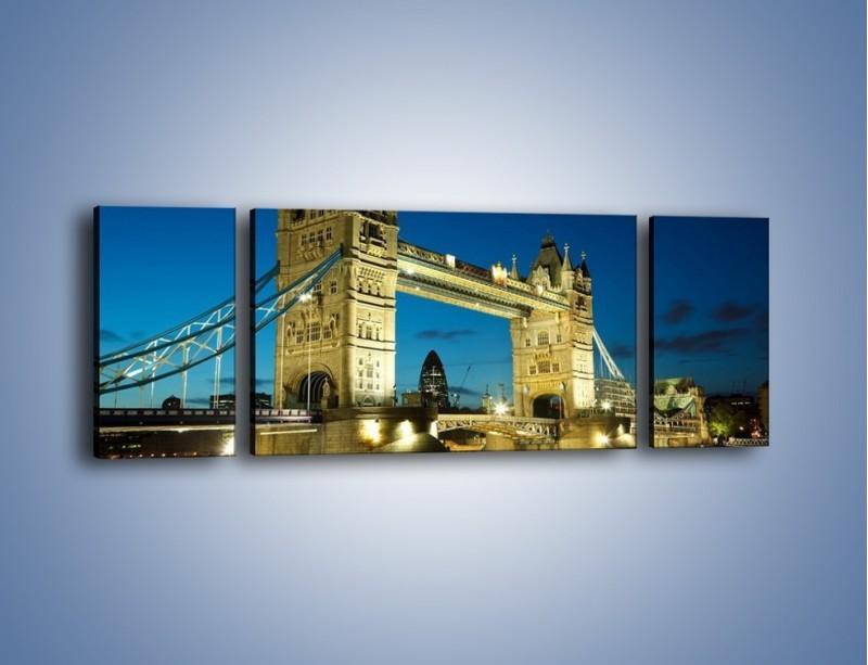 Obraz na płótnie – Tower Bridge wieczorową porą – trzyczęściowy AM159W5