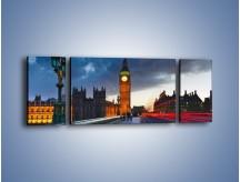 Obraz na płótnie – Big Ben świetle lamp – trzyczęściowy AM166W5