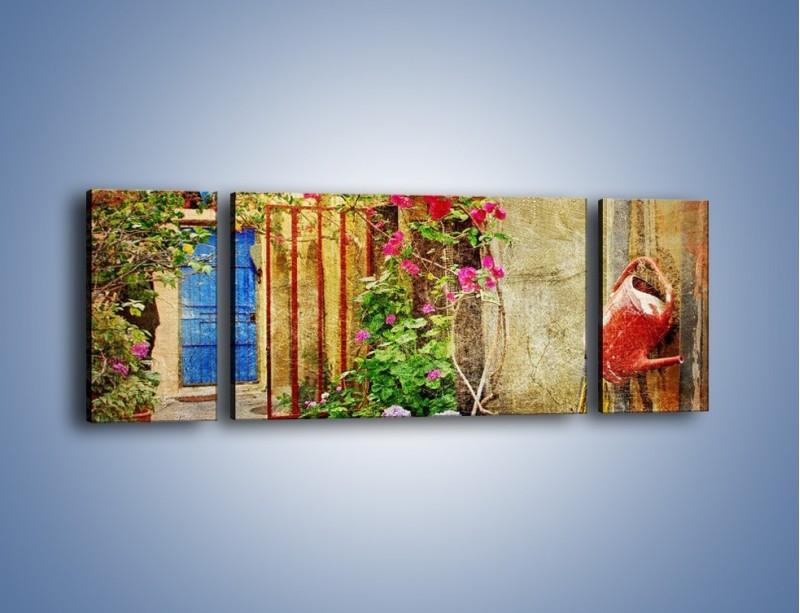 Obraz na płótnie – Mała uliczka w Grecji vintage – trzyczęściowy AM191W5