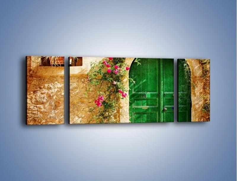Obraz na płótnie – Drzwi w greckim domu vintage – trzyczęściowy AM192W5