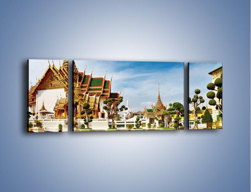Obraz na płótnie – Tajska architektura pod błękitnym niebem – trzyczęściowy AM197W5