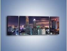 Obraz na płótnie – Duże miasto nocą – trzyczęściowy AM202W5