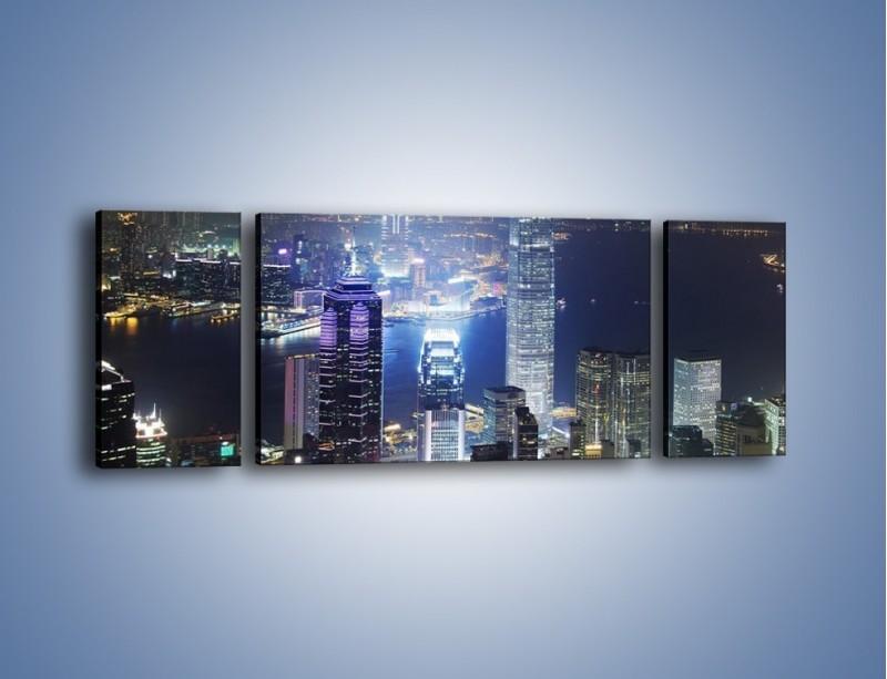 Obraz na płótnie – Miasto oświetlone nocą – trzyczęściowy AM223W5