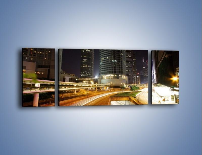 Obraz na płótnie – Miasto w nocnym ruchu ulicznym – trzyczęściowy AM225W5