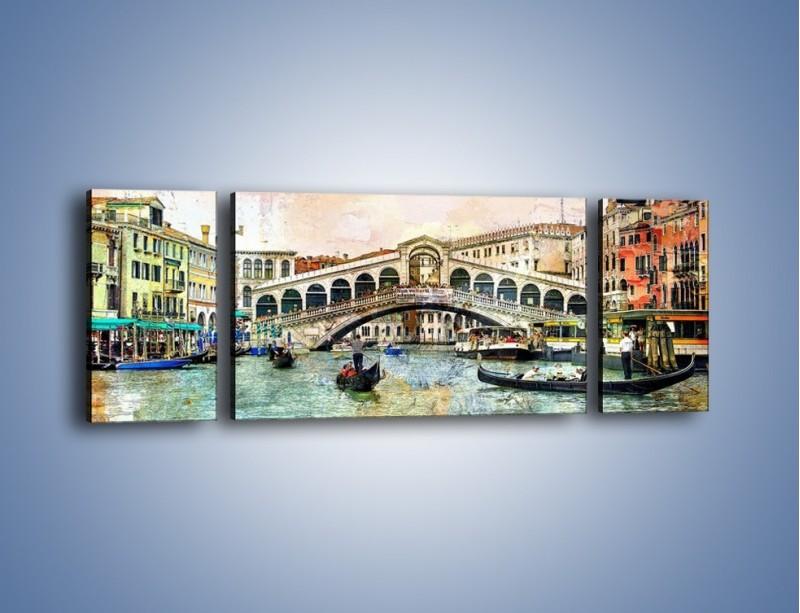 Obraz na płótnie – Wenecja w stylu vintage – trzyczęściowy AM239W5