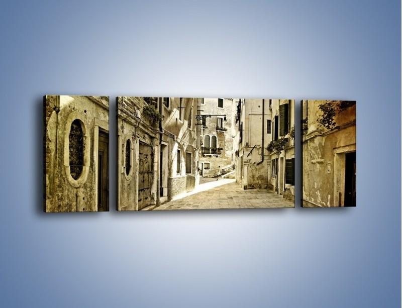 Obraz na płótnie – Stara uliczka w stylu vintage – trzyczęściowy AM243W5