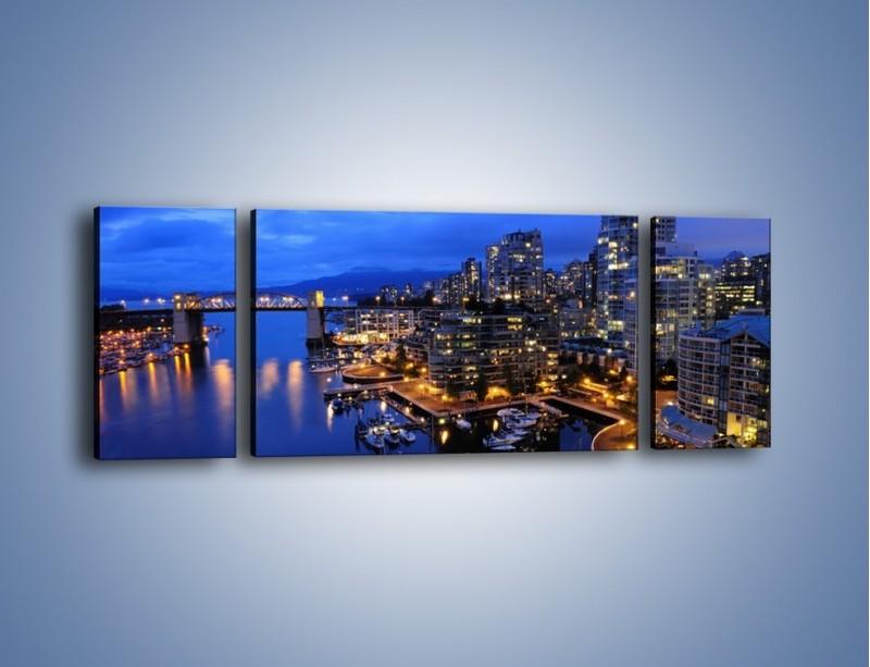 Obraz na płótnie – Port na jachty w mieście nocą – trzyczęściowy AM250W5