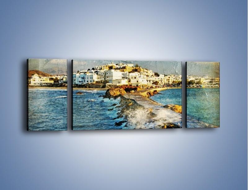 Obraz na płótnie – Grecka dróżka przez wodę vintage – trzyczęściowy AM268W5
