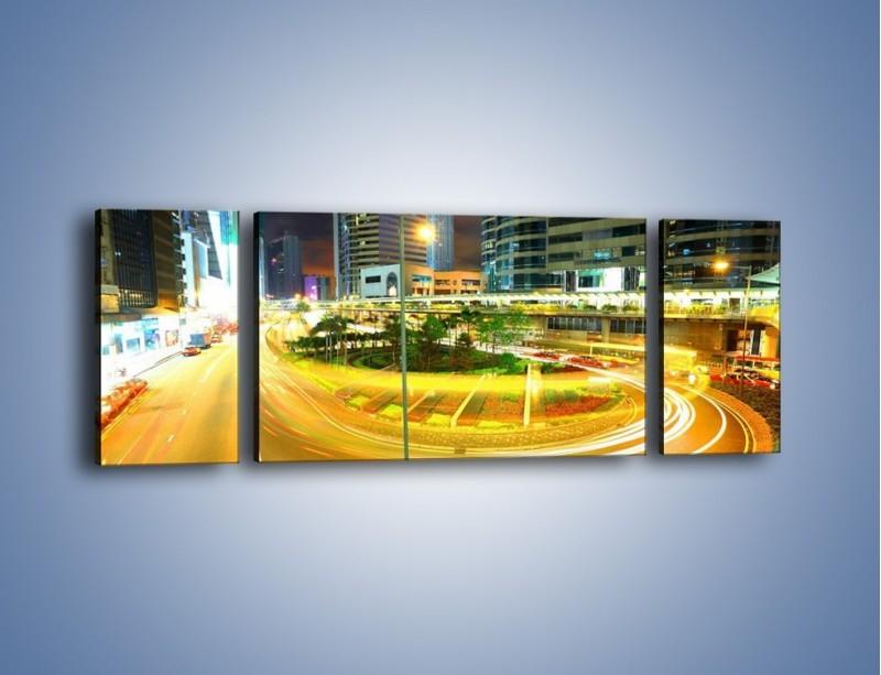 Obraz na płótnie – Światła samochodów w ruchu – trzyczęściowy AM280W5