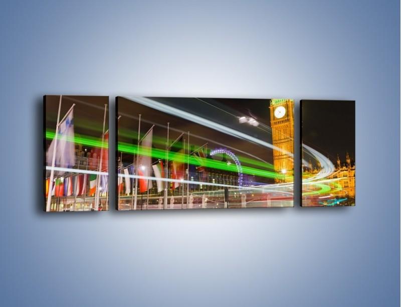 Obraz na płótnie – Światła samochodów na tle Big Bena – trzyczęściowy AM283W5