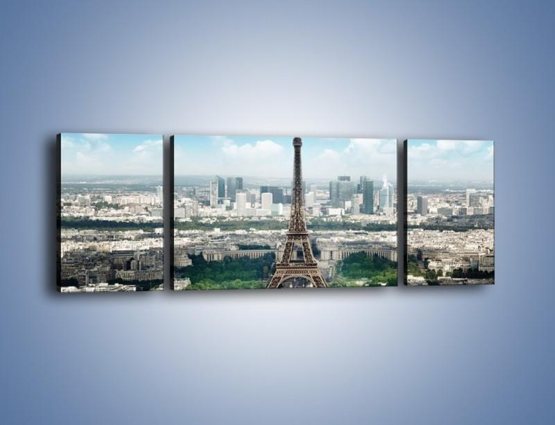 Obraz na płótnie – Chmury nad Wieżą Eiffla – trzyczęściowy AM302W5