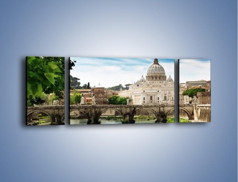 Obraz na płótnie – Rzeka Tyber na tle bazyliki – trzyczęściowy AM303W5