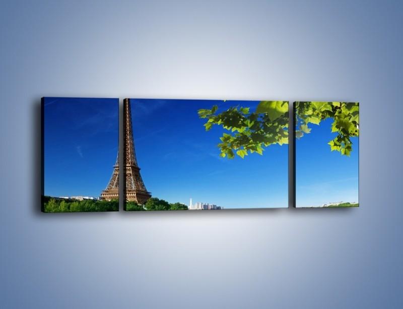 Obraz na płótnie – Wieża Eiffla w piękny dzień – trzyczęściowy AM304W5