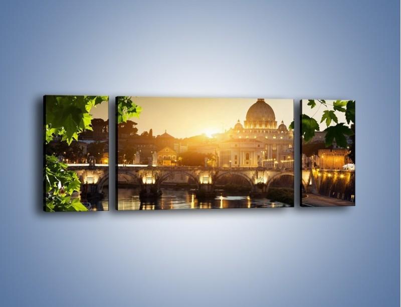 Obraz na płótnie – Bazylika w Rzymie o zachodzie słońca – trzyczęściowy AM306W5