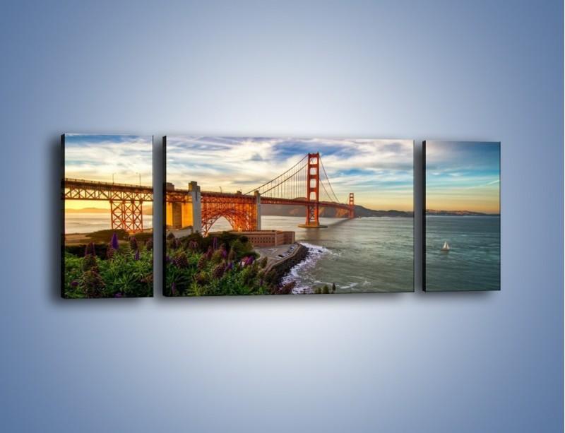 Obraz na płótnie – Most Golden Gate o zachodzie słońca – trzyczęściowy AM332W5