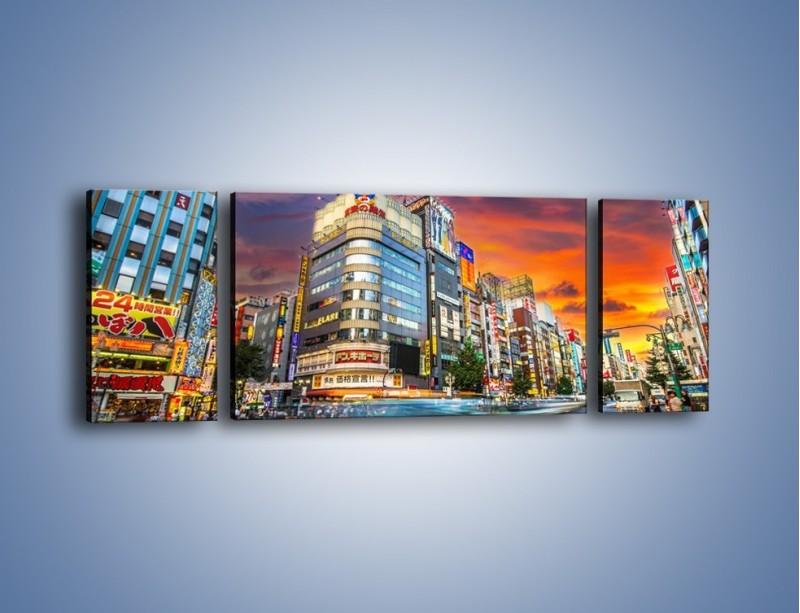 Obraz na płótnie – Tokyo na tle kolorowego nieba – trzyczęściowy AM336W5