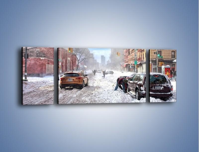 Obraz na płótnie – Zaśnieżone ulice miasta – trzyczęściowy AM342W5