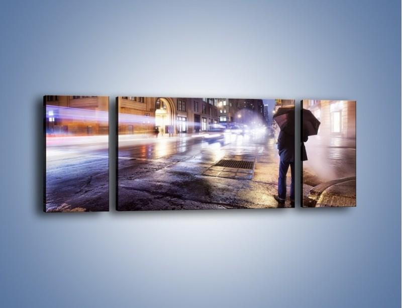 Obraz na płótnie – Deszczowa noc w Nowym Jorku – trzyczęściowy AM343W5