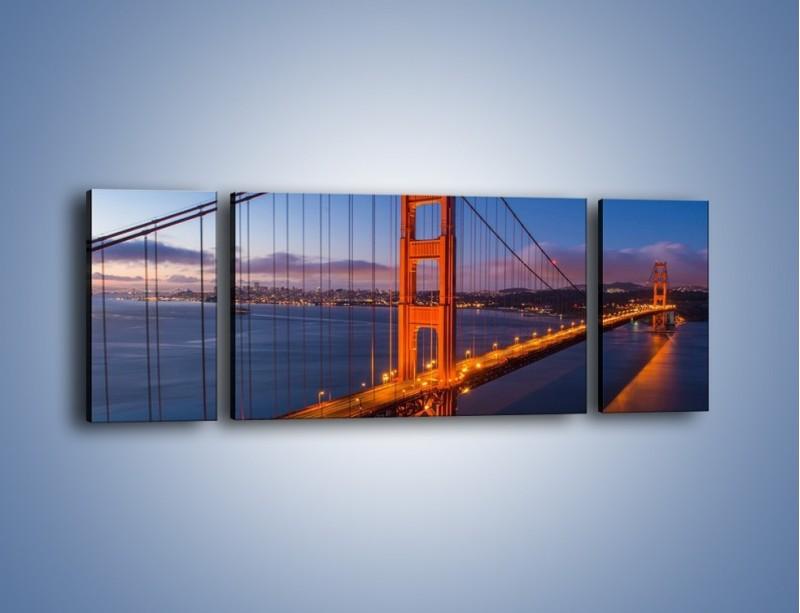 Obraz na płótnie – Rozświetlony most Golden Gate – trzyczęściowy AM360W5