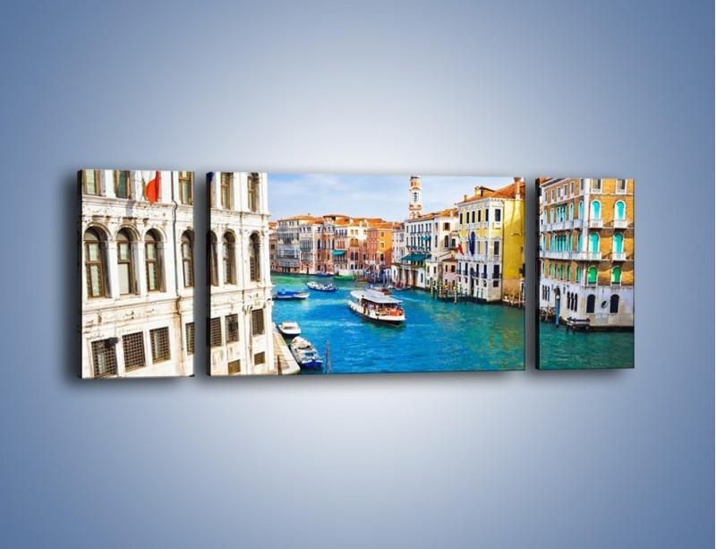Obraz na płótnie – Kolorowy świat Wenecji – trzyczęściowy AM362W5