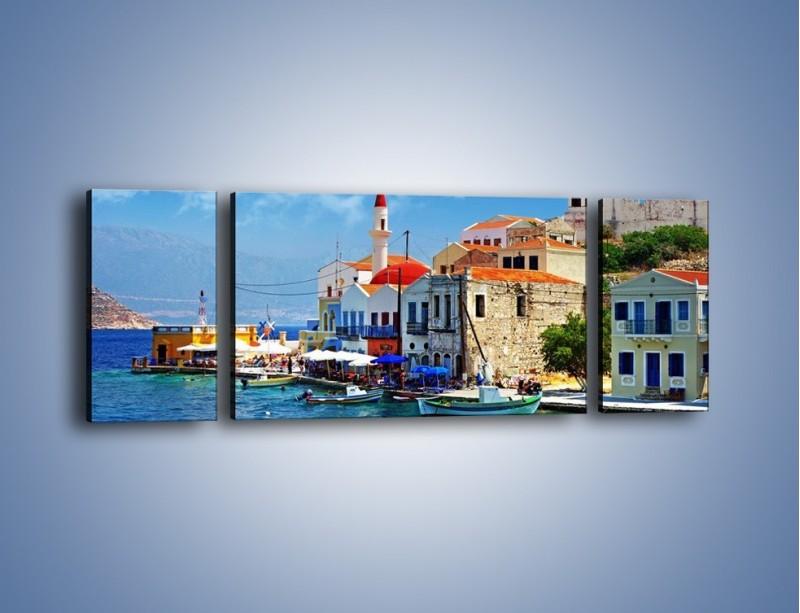 Obraz na płótnie – Kolorowe domki Santorini w Grecji – trzyczęściowy AM364W5