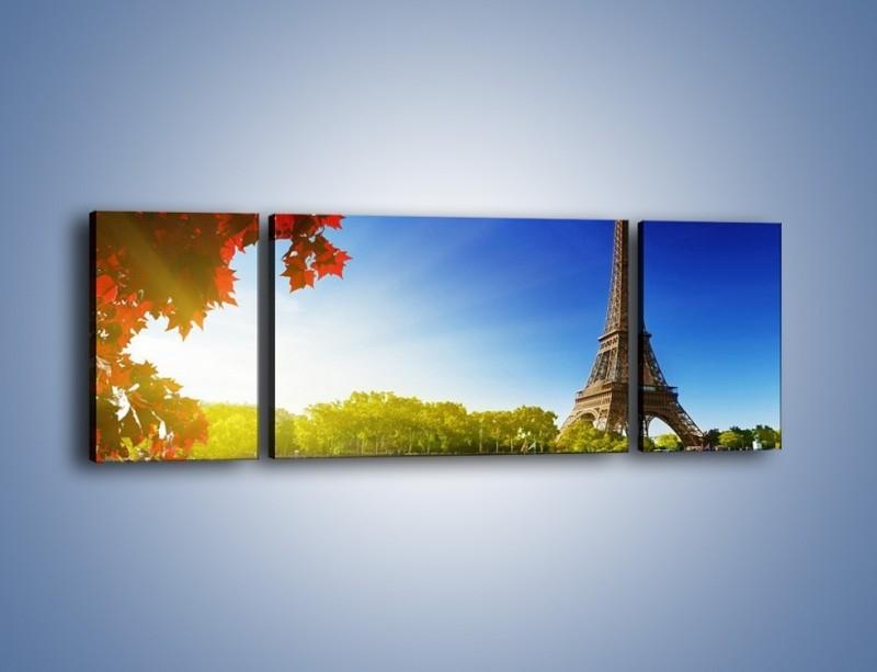 Obraz na płótnie – Wieża Eiffla w piękny dzień – trzyczęściowy AM373W5