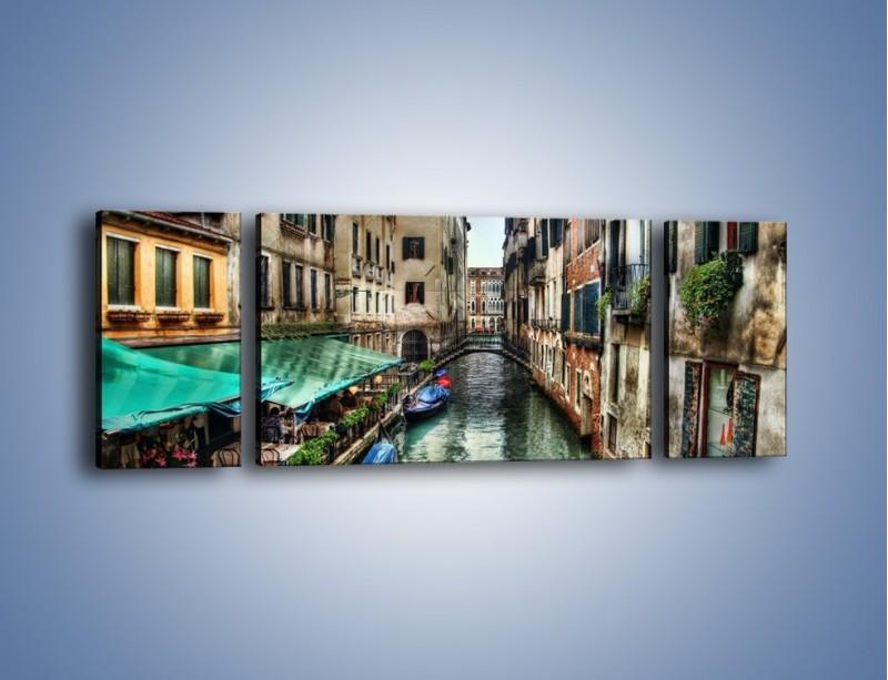 Obraz na płótnie – Wenecka uliczka w kolorach HDR – trzyczęściowy AM374W5