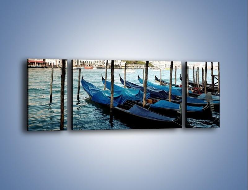 Obraz na płótnie – Zacumowane weneckie gondole – trzyczęściowy AM375W5