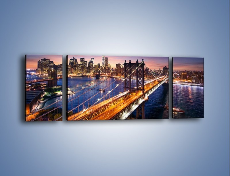 Obraz na płótnie – Zachodzące słońce nad Manhattanem – trzyczęściowy AM377W5