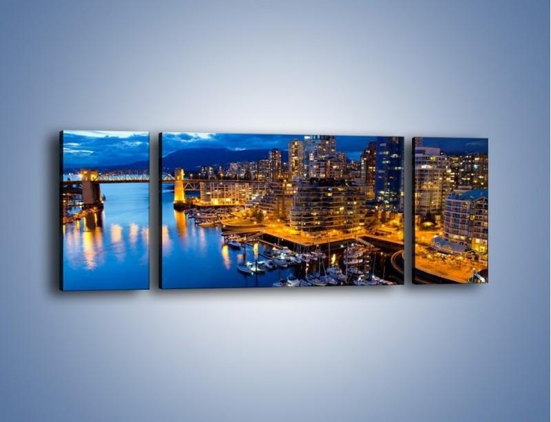 Obraz na płótnie – Zapadająca noc nad Vancouver – trzyczęściowy AM384W5
