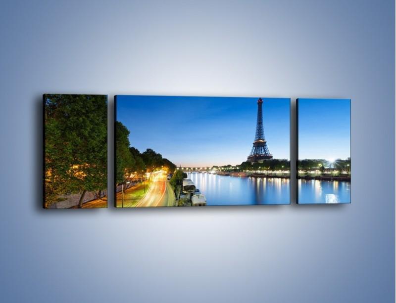 Obraz na płótnie – Zapadający zmrok w Paryżu – trzyczęściowy AM385W5