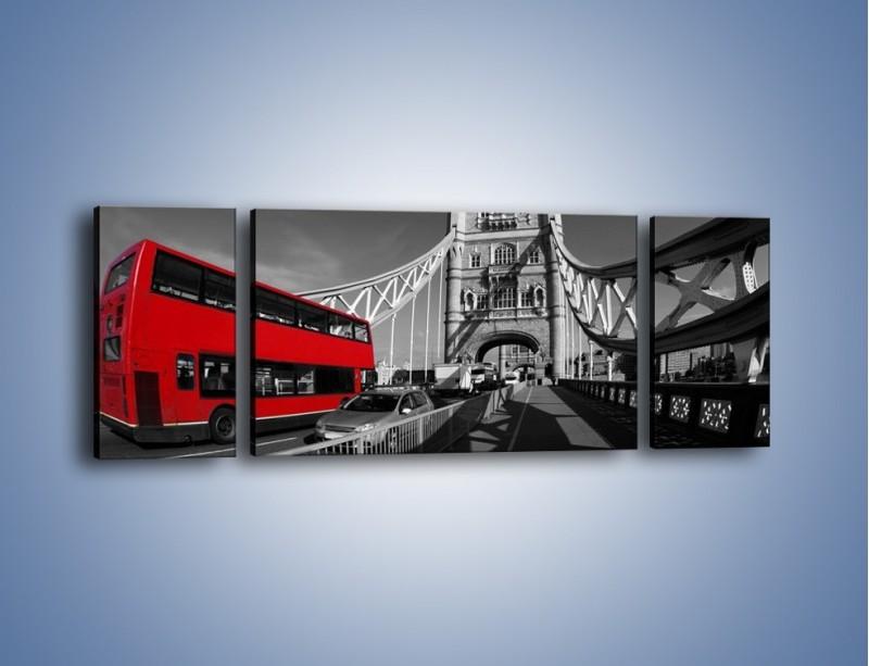Obraz na płótnie – Tower Bridge i czerwony autobus – trzyczęściowy AM394W5