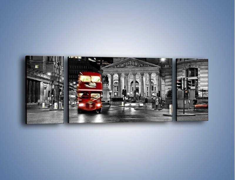 Obraz na płótnie – Czerwony autobus w Londynie – trzyczęściowy AM395W5