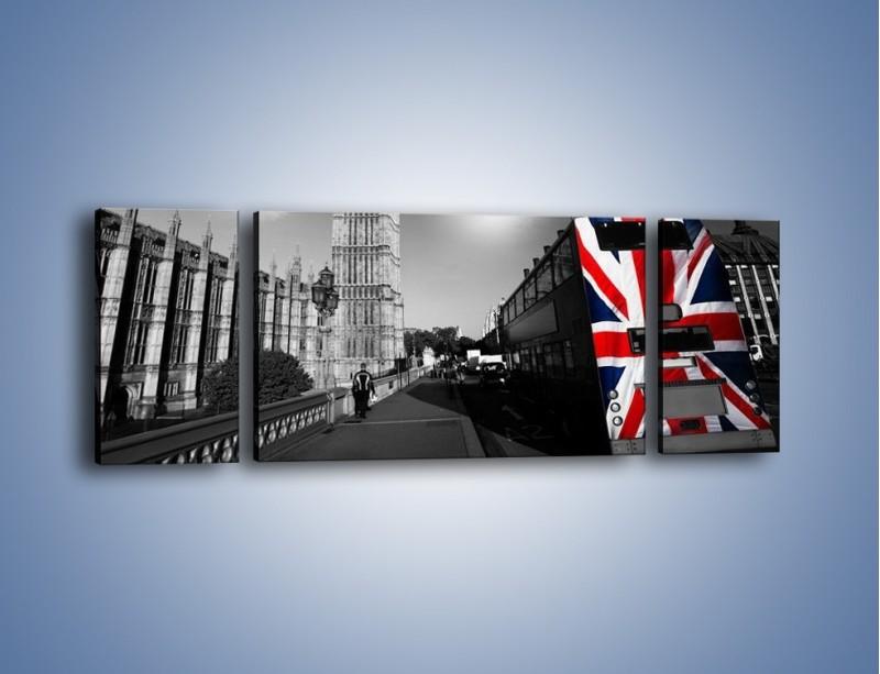 Obraz na płótnie – Big Ben i autobus z flagą UK – trzyczęściowy AM396W5