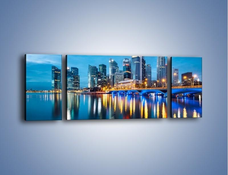 Obraz na płótnie – Kolorowe światła Singapuru – trzyczęściowy AM408W5