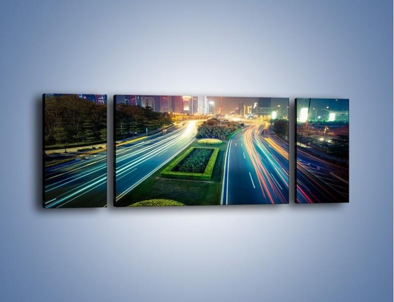 Obraz na płótnie – Uliczne światła Szanghaju – trzyczęściowy AM409W5