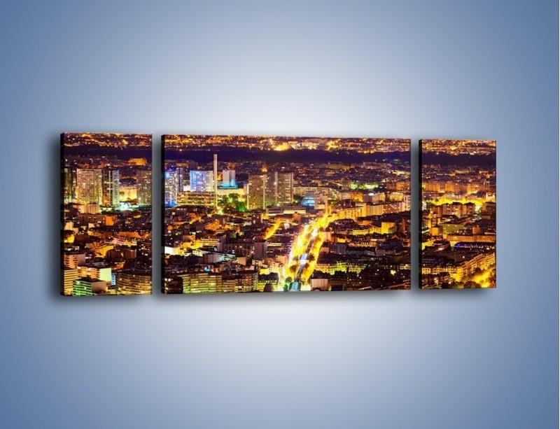 Obraz na płótnie – Kolory Paryża nocą – trzyczęściowy AM419W5