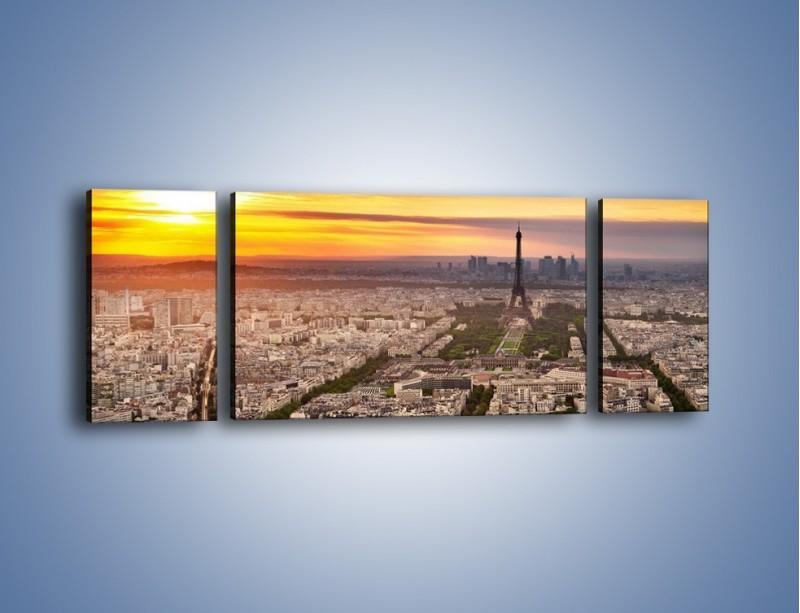 Obraz na płótnie – Zachód słońca nad Paryżem – trzyczęściowy AM420W5
