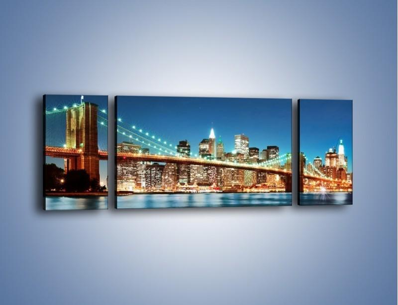 Obraz na płótnie – Most Brookliński na tle Nowego Jorku – trzyczęściowy AM428W5