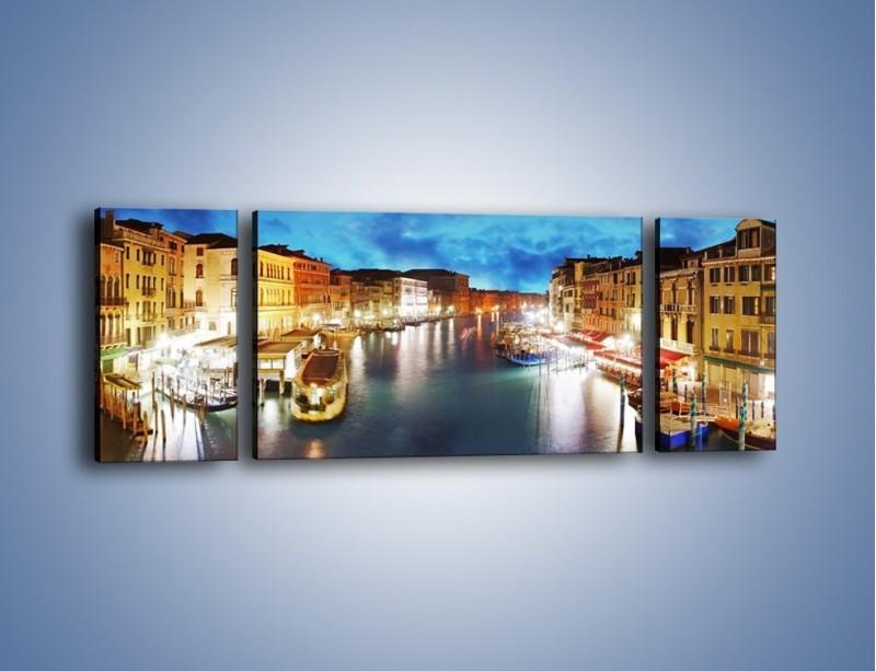 Obraz na płótnie – Światła Wenecji po zmroku – trzyczęściowy AM430W5