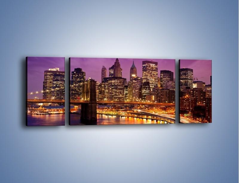 Obraz na płótnie – Nowy York pod fioletowym niebem – trzyczęściowy AM434W5