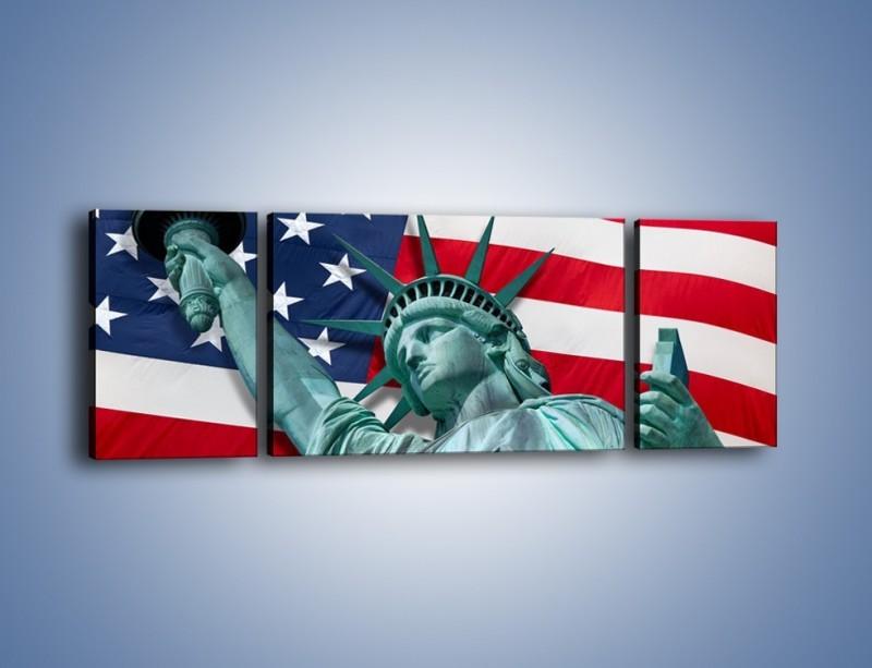 Obraz na płótnie – Statua Wolności na tle flagi USA – trzyczęściowy AM435W5