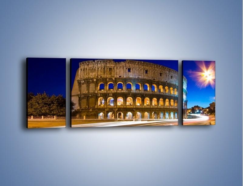 Obraz na płótnie – Koloseum po zmierzchu – trzyczęściowy AM443W5