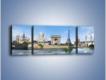 Obraz na płótnie – Atrakcje turystyczne Paryża – trzyczęściowy AM448W5