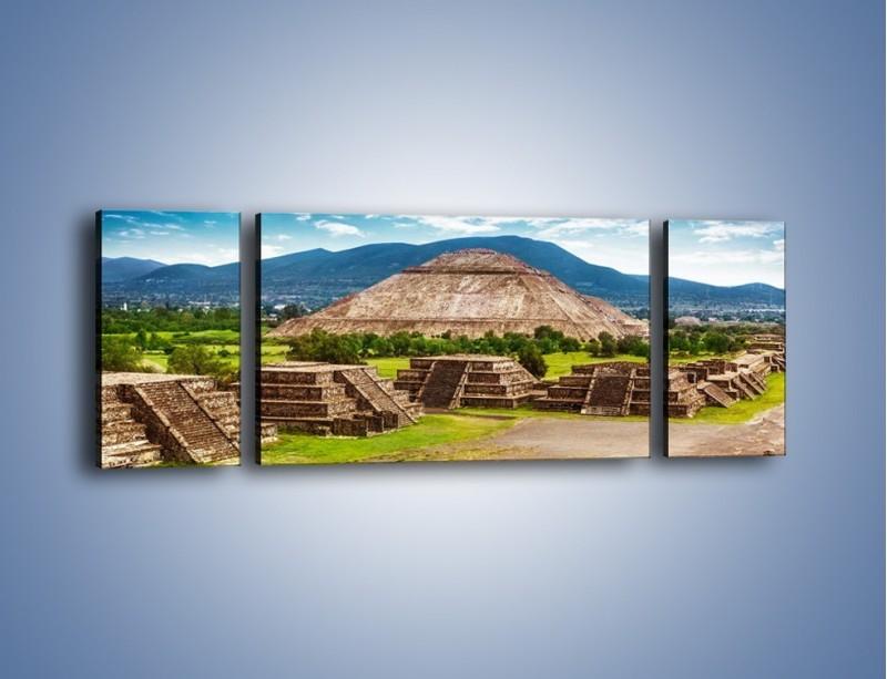 Obraz na płótnie – Piramida Słońca w Meksyku – trzyczęściowy AM450W5