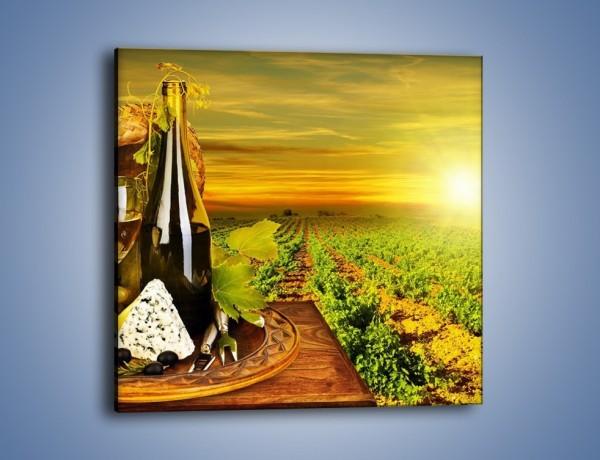 Obraz na płótnie – Wino o zachodzie słońca – jednoczęściowy kwadratowy JN024