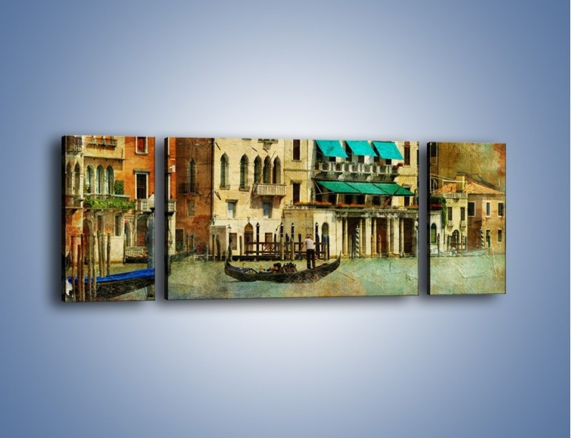 Obraz na płótnie – Weneckie domy w stylu vintage – trzyczęściowy AM459W5