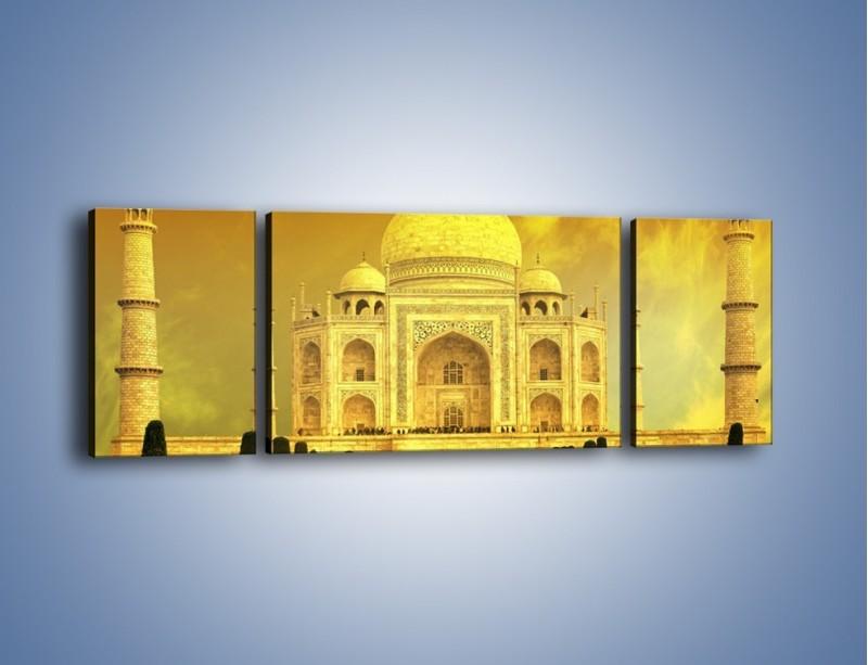 Obraz na płótnie – Tadź Mahal w żółtym kolorze – trzyczęściowy AM465W5